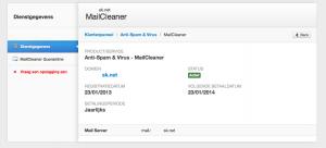 Spam/Virus domein instellingen
